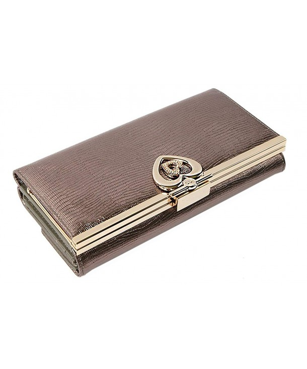 Womens Leather Checkbook Wallet Double