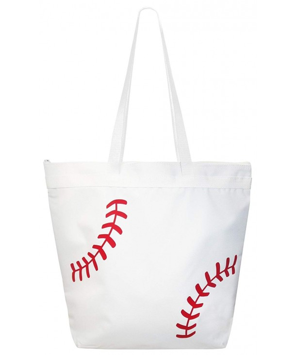 Baseball Laces Tote Bag White