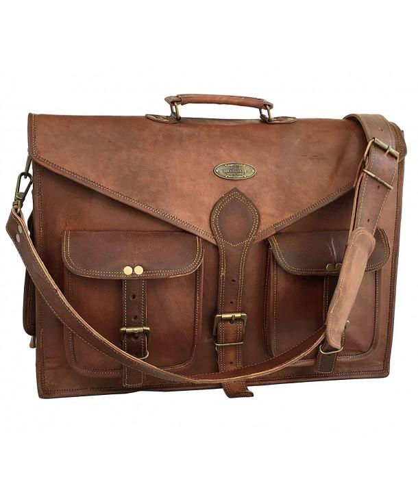 kks Vintage Leather Messenger Briefcase