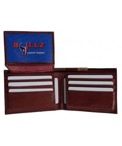 Bifold Leather Wallet Credit Burgundy